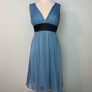 Light blue v neck flowy sheer dress